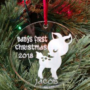 Personalized Baby Deer Ornament Baby's First Christmas