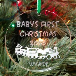 Personalized Choo Choo Train Ornament Baby's First Christmas