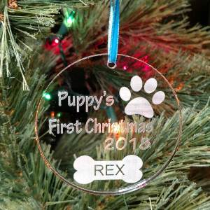 Personalized Puppy's First Christmas Ornament Custom Engraved Paw Dog Bone