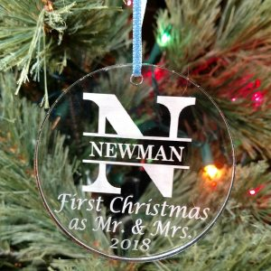 Personalized Mr. & Mrs. First Christmas Ornament Custom Engraved