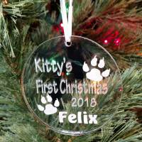 Personalized Kitty Paws Ornament