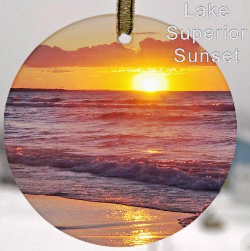Glass Photo Suncatcher Ornament Lake Superior Sunset