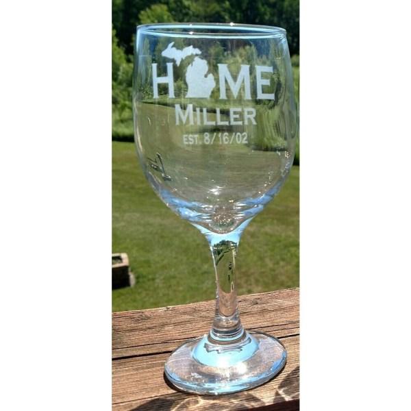 Michigan HOME Wine Glass