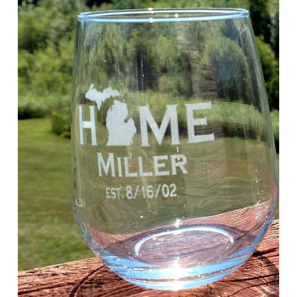 Personalized Michigan HOME Stemless Glass