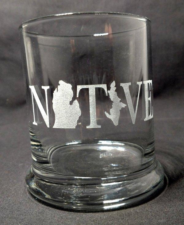 Engraved Michigan Native Rocks Glass Personalize