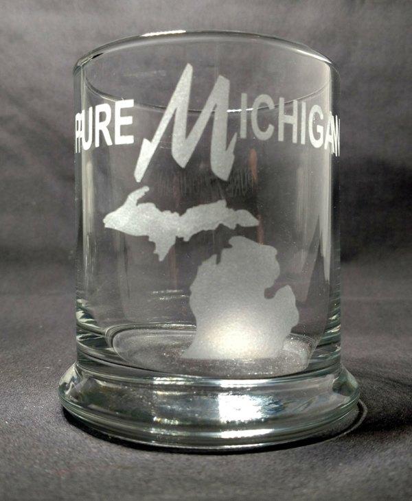 Engraved Pure Michigan Rocks Glass Personalize