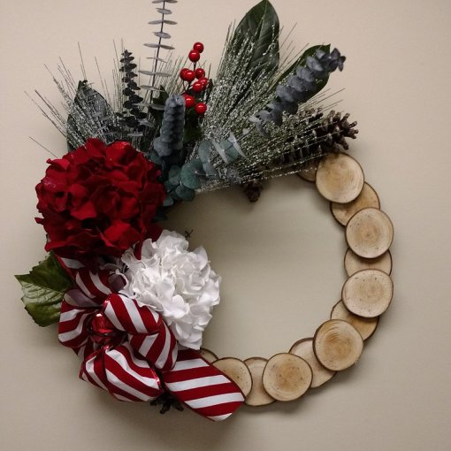 Rustic Maple Christmas Wreath Red White Hydrangea Made In Michigan
