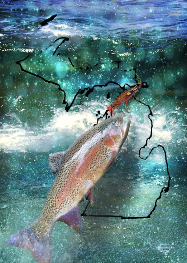 Michigan Glass Cutting Board Fishing