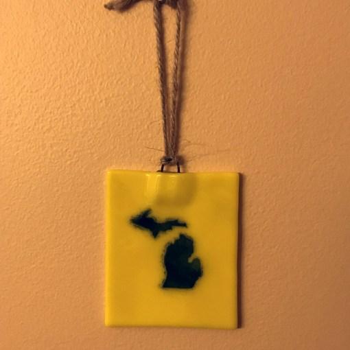 Michigan Ornament Suncatcher Blue Gold