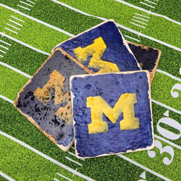 Hand Painted University of Michigan M Coaster Set