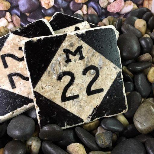 M22 Coaster Hand Painted Travertine Stone