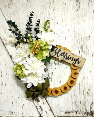 Blessings White Dahlias Wreath 15 inch Cedar