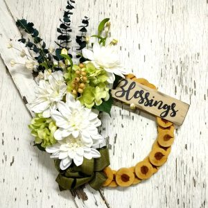 Blessings White Dahlias Wreath 15 inch Cedar