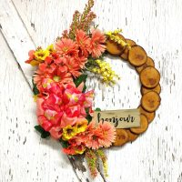 Bonjour Melon Daisies Wreath 19 inch Maple