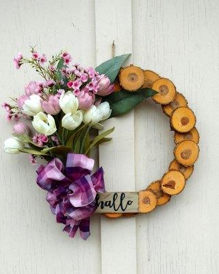 Hallo Lavender Tulips Wreath 15 inch Oak