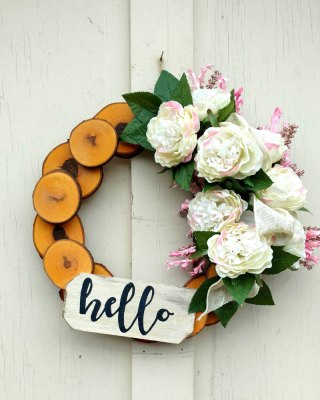 Hello White Roses Wreath 13 inch Maple
