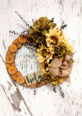 Hola Cream Sunflower Wreath 15 inch Maple