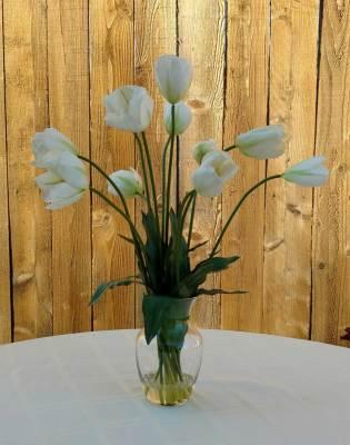 Silk White Tulips Floral Arrangement