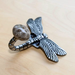 Petoskey Stone Dragonfly Wall Hook