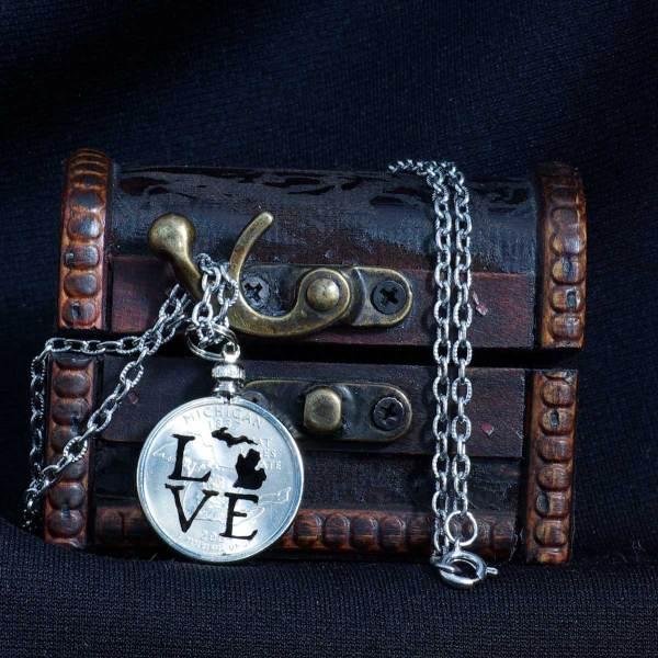 LOVE Michigan Quarter Necklace