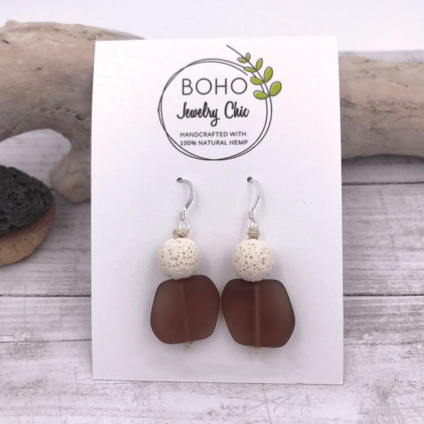 Aromatherapy Diffuser Sea Glass Earrings Purple