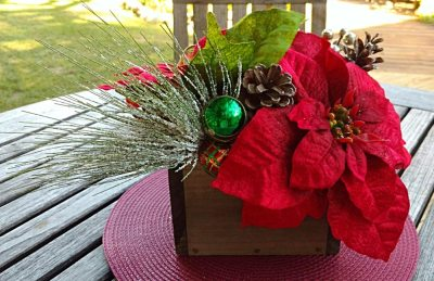 Christmas Plaid Centerpiece Poinsettia Pinecones Bells