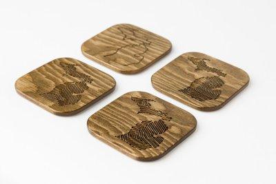 Engraved Wood Michigan Coasters Walnut