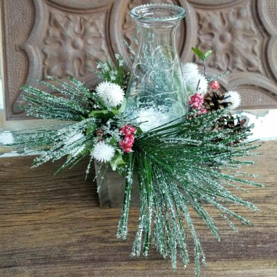 Holiday Centerpiece Iced Greenery Pinecones Glass Chimney