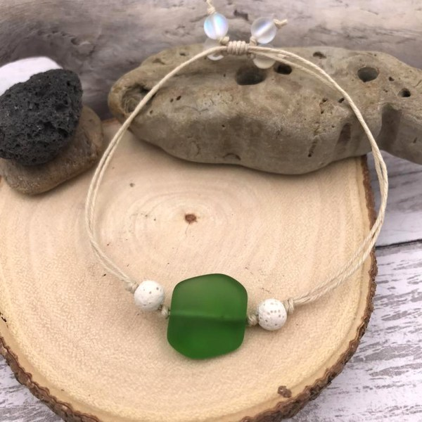 Sea Glass Aromatherapy Bracelet Green