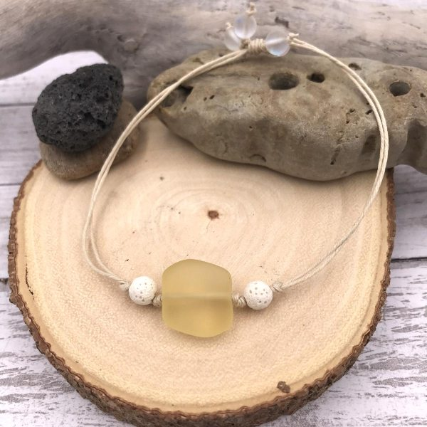 Sea Glass Aromatherapy Bracelet Yellow