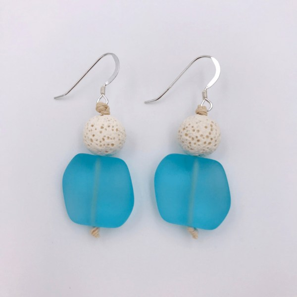 Blue Sea Glass Aromatherapy Earrings