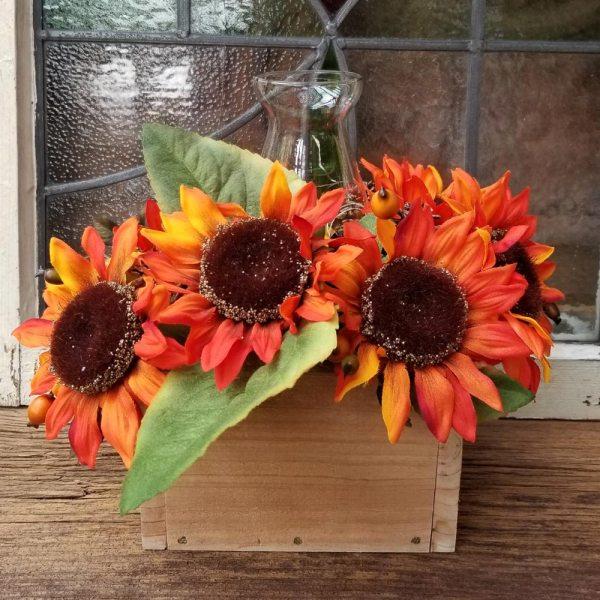 Fall Centerpiece Orange Sunflowers