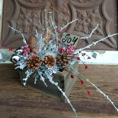 Joy Holiday Centerpiece Snowy Branches Pinecones Glass Chimney