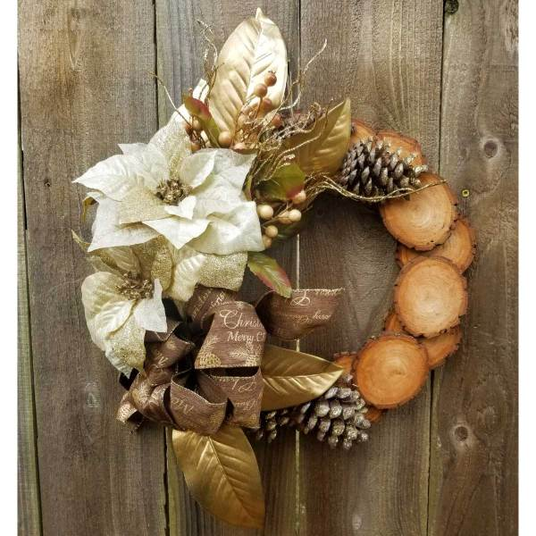 Holiday Wreath 13 Inch Willow Slice