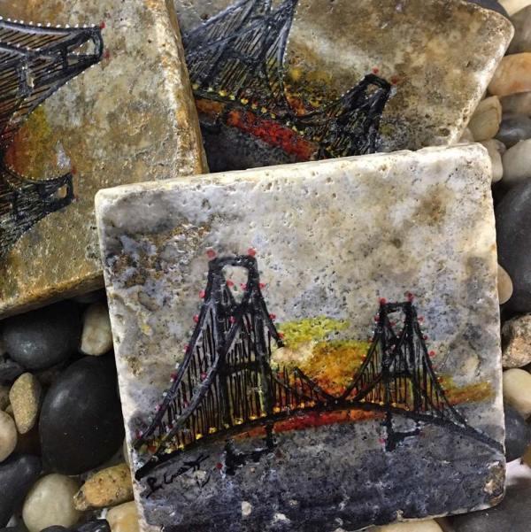 Mackinac Bridge at Sunset Coaster Set