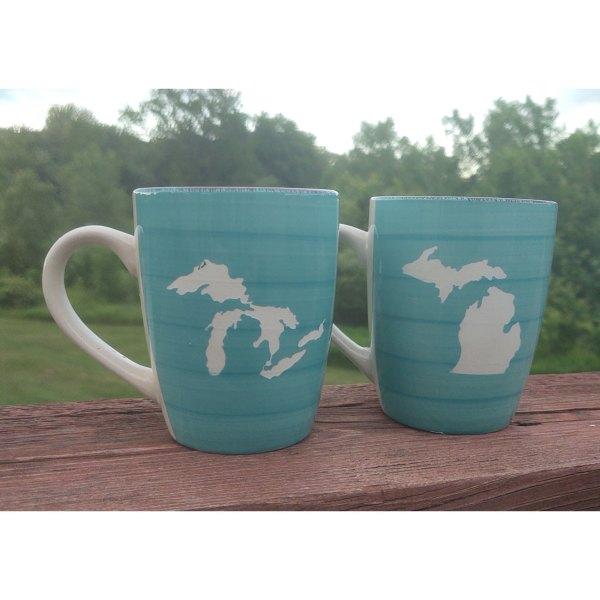 Turquoise Michigan Mugs