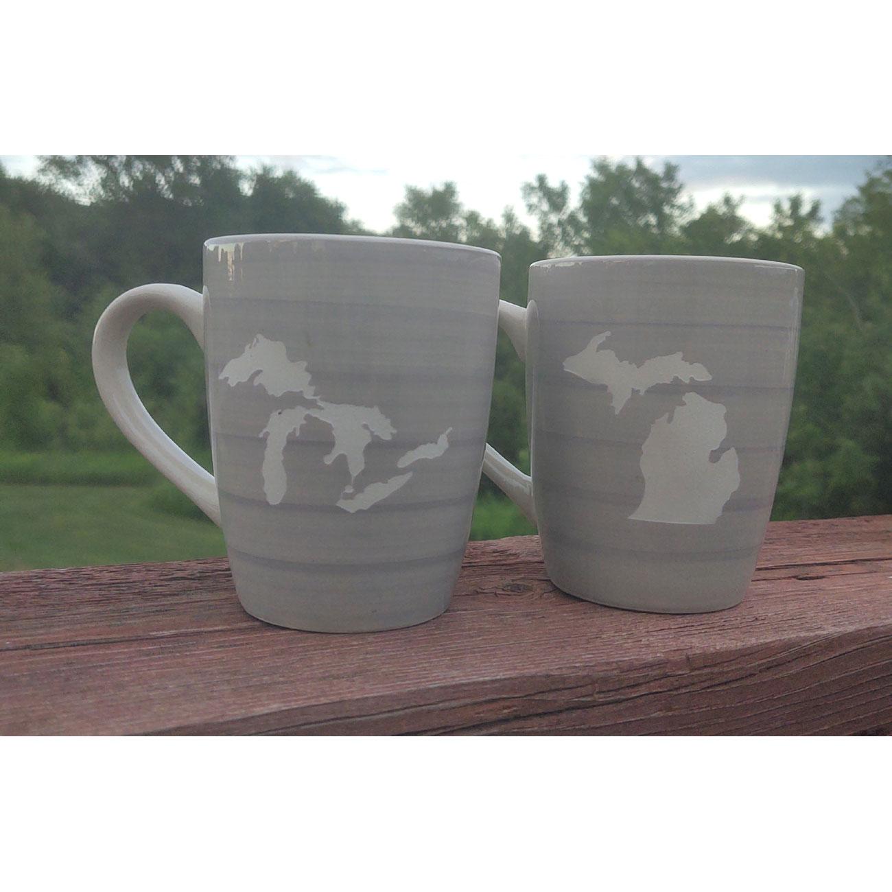 Gray Michigan Mugs