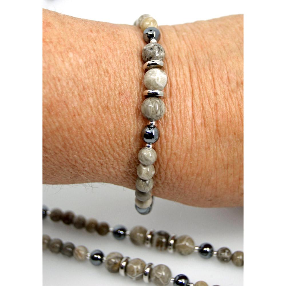 Hematite and Petoskey Stone Bracelet