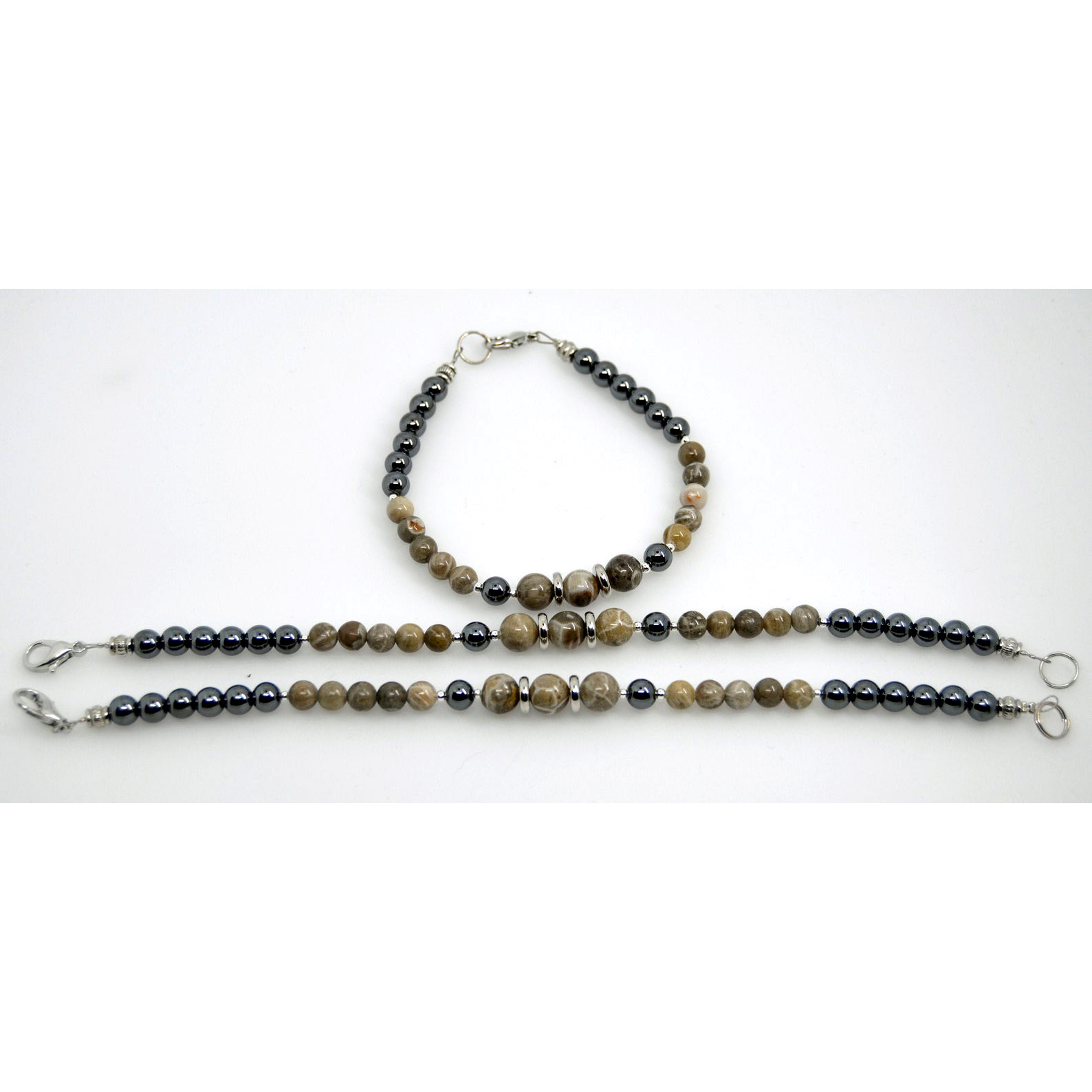 Petoskey Stone and Hematite Bracelets
