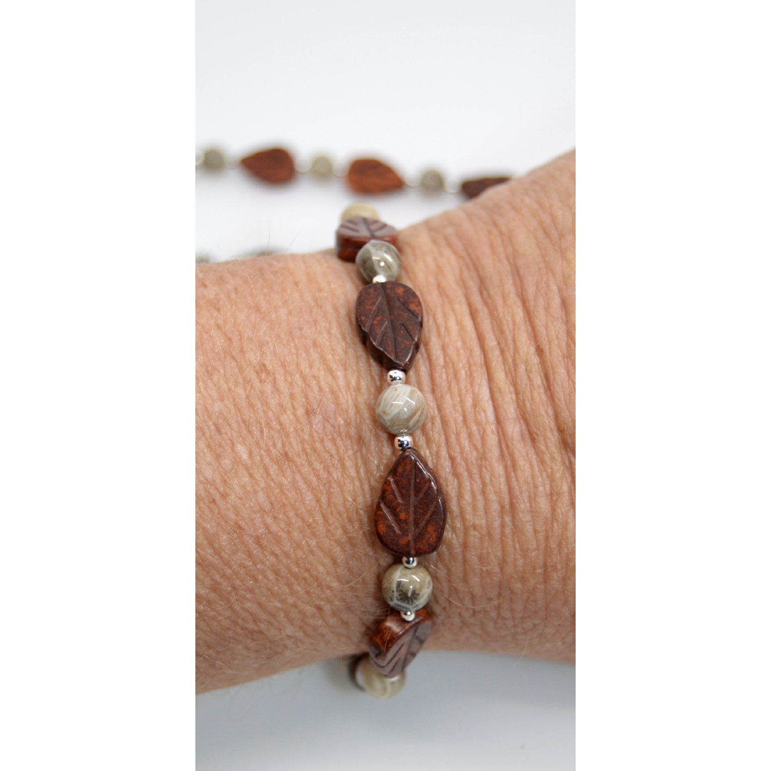 Jasper and Petoskey Stone Bracelet