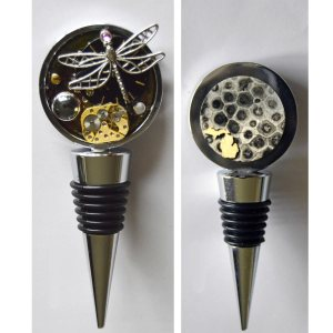 Michigan Steampunk Bottle Stopper Dragonfly with Michigan Petoskey Stone Backside