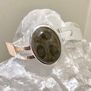 Petoskey Stone Zig Zag Cuff Bracelet