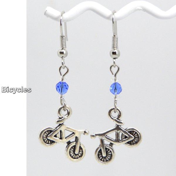 Bicycle Silver Charm Dangle Earrings