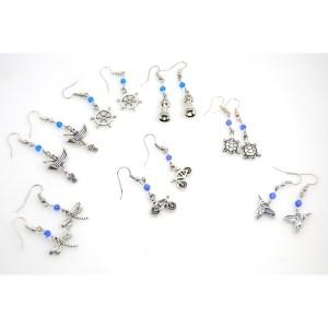 Silver Charm Dangle Earrings
