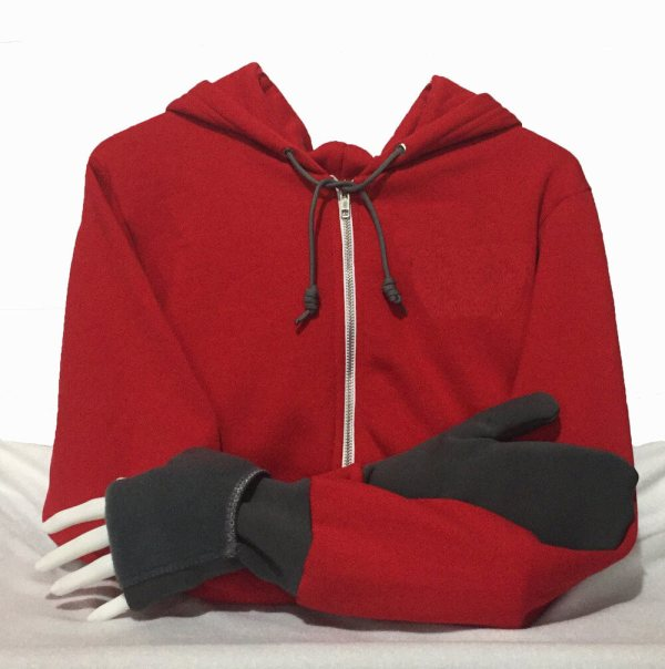 Hoodie with Convertible Turtle Flip Mittens Red Gray