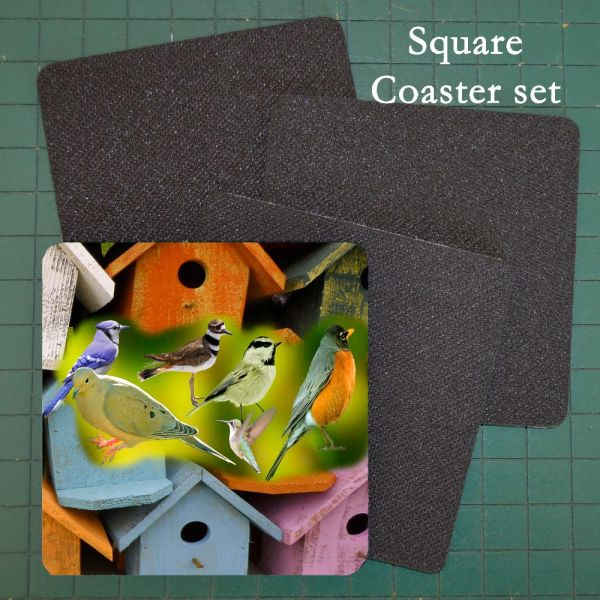 Neoprene Coaster Assorted Birds and Birdhouses 2