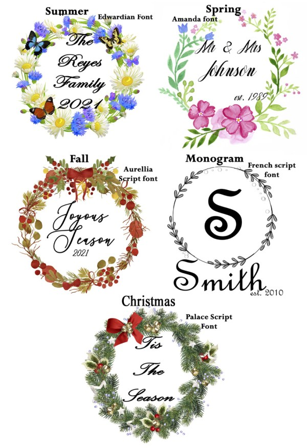 personalized wreath options