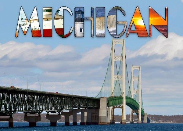 Mackinac Bridge with Michigan Text Cutting Board