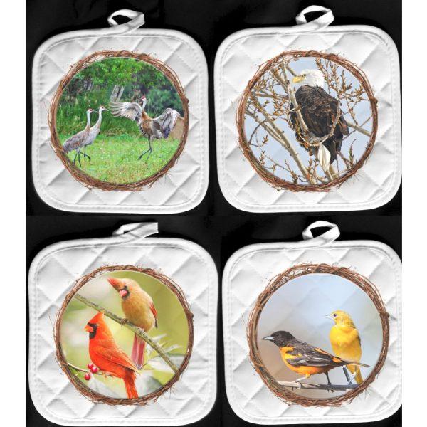 Michigan Bird Pot Holder Hot Pads crane eagle cardinals orioles