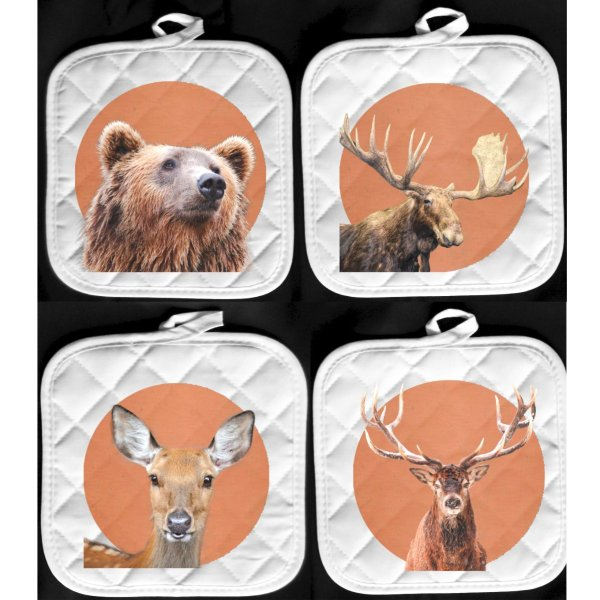 wildlife hot pads bear moose deer elk